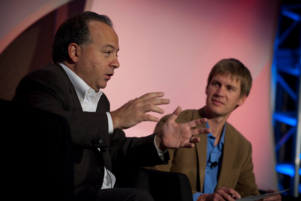"""Using Social Networks to Achieve Real Change"": Rob Glaser (L), Founder, Chair, and CEO, RealNetworks; and host John Cook, Executive Editor, TechFlash"