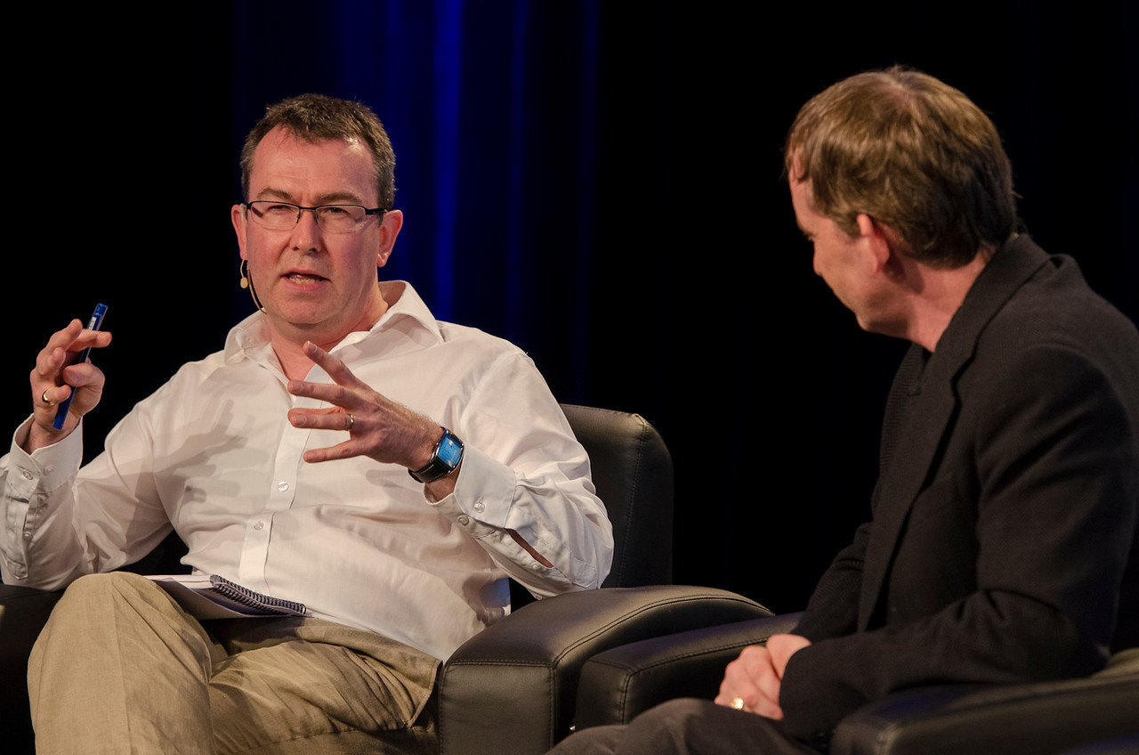 """Host Patrick Lane, The Economist; with Colin Angle, CEO, iRobot, in """"Integrating Robots into Our Homes, Healthcare, and Beyond.""""  May 22-25, 2012: At the Montage in Laguna Beach, CA, 200 thought leaders - high technology engineers and executives, entrepreneurs, scientists, and media professionals - gathered for 3 days to participate in FiRe X, the 10th annual Future in Review conference, presented by the Strategic News Service and led by SNS founder and technology visionary Mark Anderson. Interviews, panel discussions, and informal conversations ranged from IP protection to CO2 and climate change, new healthcare paradigms, global economics, ocean toxins, robotics, documentary filmmaking,  medical diagnostics, technology solutions for social issues, global economics, mobile computing, and tech solutions to human trafficking and aging with dignity."""