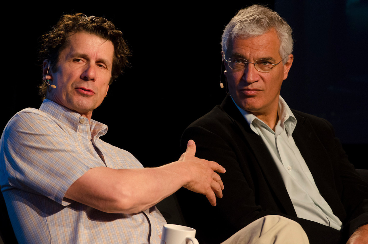 """""""FiRe Films: A New Program Uniting Technology, Finance, and Documentaries"""": James Balog (L; """"Chasing Ice""""), and Louie Psihoyos (""""The Cove"""").  May 22-25, 2012: At the Montage in Laguna Beach, CA, 200 thought leaders - high technology engineers and executives, entrepreneurs, scientists, and media professionals - gathered for 3 days to participate in FiRe X, the 10th annual Future in Review conference, presented by the Strategic News Service and led by SNS founder and technology visionary Mark Anderson. Interviews, panel discussions, and informal conversations ranged from IP protection to CO2 and climate change, new healthcare paradigms, global economics, ocean toxins, robotics, documentary filmmaking,  medical diagnostics, technology solutions for social issues, global economics, mobile computing, and tech solutions to human trafficking and aging with dignity."""