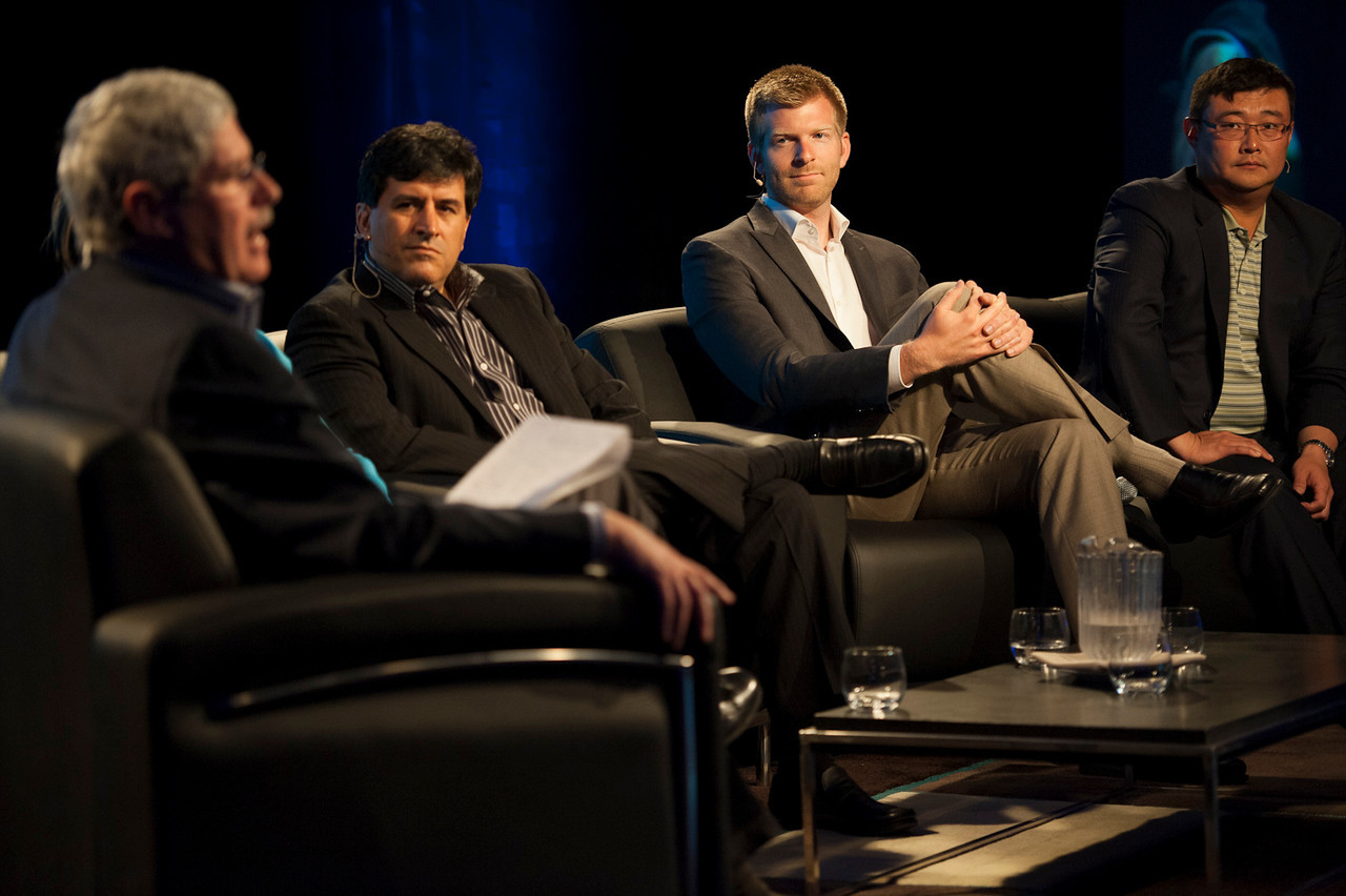 """Integrating for Better Healthcare Solutions"": (L-R) Host Doug Smith, Kian Saneii, Davis Brimer, and Fred Lee.  May 22-25, 2012: At the Montage in Laguna Beach, CA, 200 thought leaders - high technology engineers and executives, entrepreneurs, scientists, and media professionals - gathered for 3 days to participate in FiRe X, the 10th annual Future in Review conference, presented by the Strategic News Service and led by SNS founder and technology visionary Mark Anderson. Interviews, panel discussions, and informal conversations ranged from IP protection to CO2 and climate change, new healthcare paradigms, global economics, ocean toxins, robotics, documentary filmmaking,  medical diagnostics, technology solutions for social issues, global economics, mobile computing, and tech solutions to human trafficking and aging with dignity."