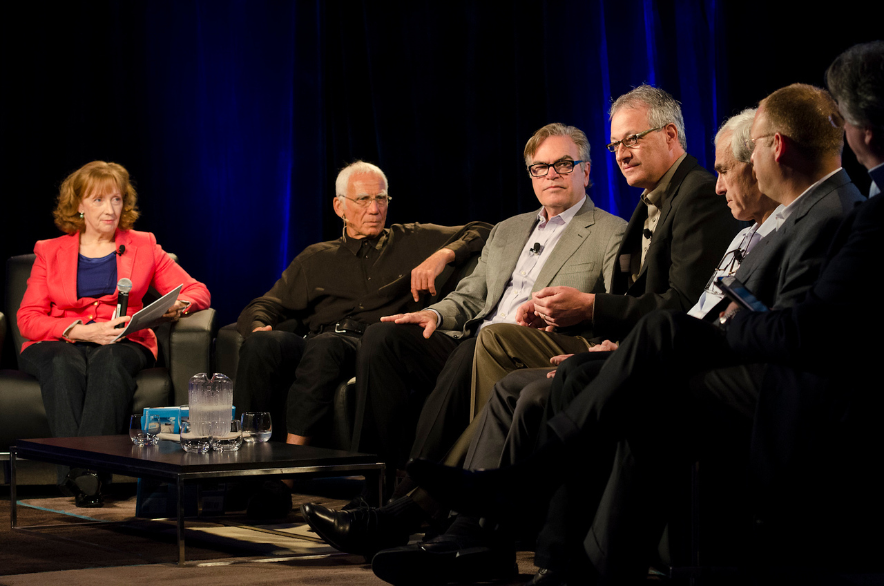 """""""HotSpots: Five Personal Views of the Future"""": (L-R) Host Lesley Curwen of the BBC, Jin Zidell, David Garrison, John Vadino, Hugh Bradlow, Alexander Gounares, and Andre de Fusco.  May 22-25, 2012: At the Montage in Laguna Beach, CA, 200 thought leaders - high technology engineers and executives, entrepreneurs, scientists, and media professionals - gathered for 3 days to participate in FiRe X, the 10th annual Future in Review conference, presented by the Strategic News Service and led by SNS founder and technology visionary Mark Anderson. Interviews, panel discussions, and informal conversations ranged from IP protection to CO2 and climate change, new healthcare paradigms, global economics, ocean toxins, robotics, documentary filmmaking,  medical diagnostics, technology solutions for social issues, global economics, mobile computing, and tech solutions to human trafficking and aging with dignity."""