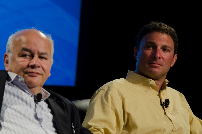 """From Carbon to Carbon"": David E.Y. Sarna (L), CEO, WoodallTech; and Dan Simon, President and CEO, Heliae.  May 22-25, 2012: At the Montage in Laguna Beach, CA, 200 thought leaders - high technology engineers and executives, entrepreneurs, scientists, and media professionals - gathered for 3 days to participate in FiRe X, the 10th annual Future in Review conference, presented by the Strategic News Service and led by SNS founder and technology visionary Mark Anderson. Interviews, panel discussions, and informal conversations ranged from IP protection to CO2 and climate change, new healthcare paradigms, global economics, ocean toxins, robotics, documentary filmmaking,  medical diagnostics, technology solutions for social issues, global economics, mobile computing, and tech solutions to human trafficking and aging with dignity."