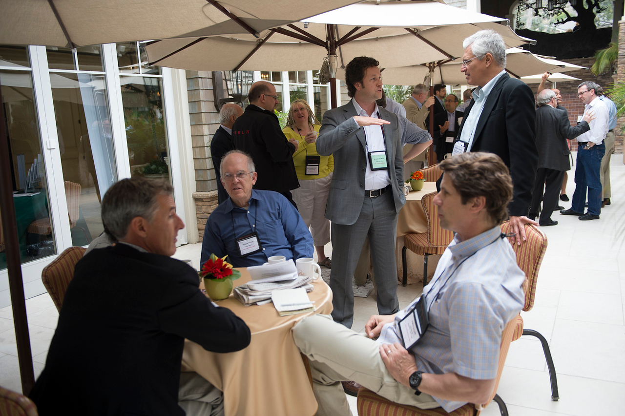 L-R, seated: Lewis Douglas, Roger Payne, and James Balog. Standing: Shannon Smith (L) and Louie Psihoyos.  May 22-25, 2012: At the Montage in Laguna Beach, CA, 200 thought leaders - high technology engineers and executives, entrepreneurs, scientists, and media professionals - gathered for 3 days to participate in FiRe X, the 10th annual Future in Review conference, presented by the Strategic News Service and led by SNS founder and technology visionary Mark Anderson. Interviews, panel discussions, and informal conversations ranged from IP protection to CO2 and climate change, new healthcare paradigms, global economics, ocean toxins, robotics, documentary filmmaking,  medical diagnostics, technology solutions for social issues, global economics, mobile computing, and tech solutions to human trafficking and aging with dignity.