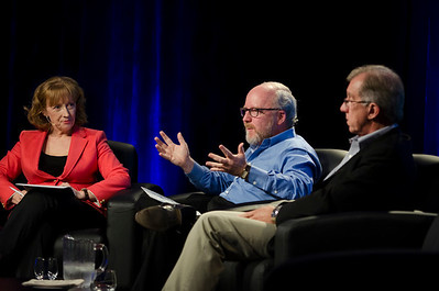 L-R: Lesley Curwen, BBC World Service; Jon Hagel, Deloitte Center for the Edge; and Eric Openshaw, Deloitte.  May 22-25, 2012: At the Montage in Laguna Beach, CA, 200 thought leaders - high technology engineers and executives, entrepreneurs, scientists, and media professionals - gathered for 3 days to participate in FiRe X, the 10th annual Future in Review conference, presented by the Strategic News Service and led by SNS founder and technology visionary Mark Anderson. Interviews, panel discussions, and informal conversations ranged from IP protection to CO2 and climate change, new healthcare paradigms, global economics, ocean toxins, robotics, documentary filmmaking,  medical diagnostics, technology solutions for social issues, global economics, mobile computing, and tech solutions to human trafficking and aging with dignity.