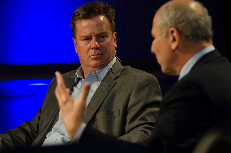 """Privacy Protection: Going Global"": Host Jonathan Ewert (L), President, TransforMedia; and David Vladeck, Director, Bureau of Consumer Protection, Federal Trade Commission.  May 22-25, 2012: At the Montage in Laguna Beach, CA, 200 thought leaders - high technology engineers and executives, entrepreneurs, scientists, and media professionals - gathered for 3 days to participate in FiRe X, the 10th annual Future in Review conference, presented by the Strategic News Service and led by SNS founder and technology visionary Mark Anderson. Interviews, panel discussions, and informal conversations ranged from IP protection to CO2 and climate change, new healthcare paradigms, global economics, ocean toxins, robotics, documentary filmmaking,  medical diagnostics, technology solutions for social issues, global economics, mobile computing, and tech solutions to human trafficking and aging with dignity."