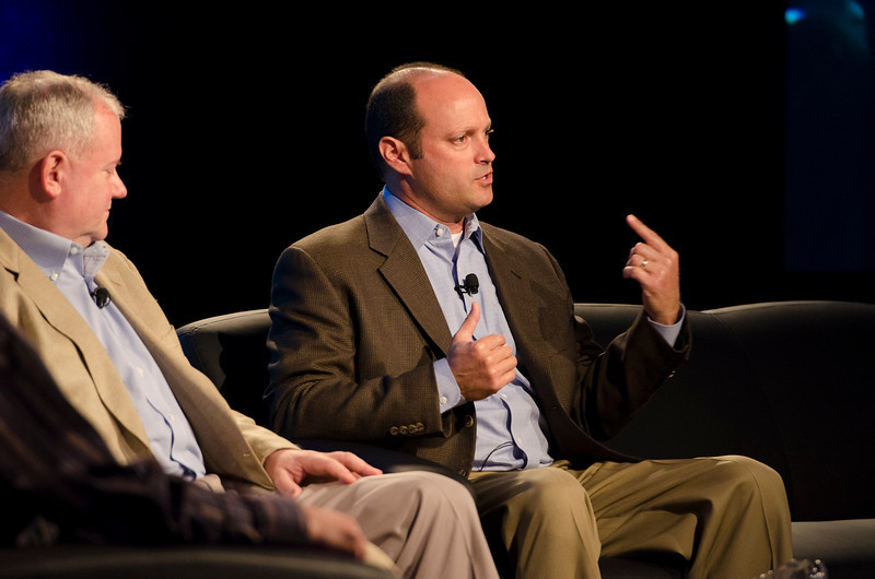 """Shifts in Technology Investing"": Gary Rieschel (L), Qiming Venture Partners; and Jason Spievak, RingRevenue Inc.  May 22-25, 2012: At the Montage in Laguna Beach, CA, 200 thought leaders - high technology engineers and executives, entrepreneurs, scientists, and media professionals - gathered for 3 days to participate in FiRe X, the 10th annual Future in Review conference, presented by the Strategic News Service and led by SNS founder and technology visionary Mark Anderson. Interviews, panel discussions, and informal conversations ranged from IP protection to CO2 and climate change, new healthcare paradigms, global economics, ocean toxins, robotics, documentary filmmaking,  medical diagnostics, technology solutions for social issues, global economics, mobile computing, and tech solutions to human trafficking and aging with dignity."