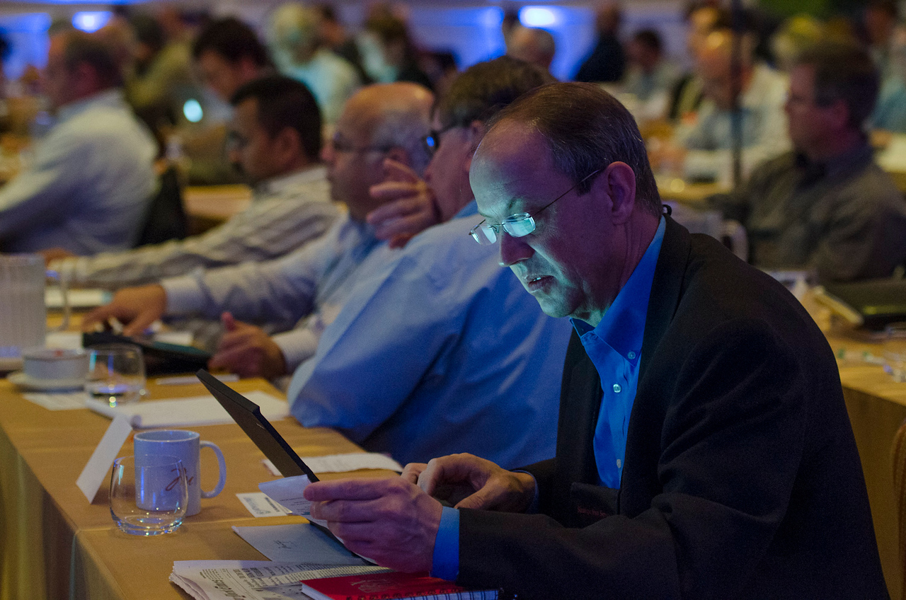 In the foreground: Tony Lammers, MAR Systems.  May 22-25, 2012: At the Montage in Laguna Beach, CA, 200 thought leaders - high technology engineers and executives, entrepreneurs, scientists, and media professionals - gathered for 3 days to participate in FiRe X, the 10th annual Future in Review conference, presented by the Strategic News Service and led by SNS founder and technology visionary Mark Anderson. Interviews, panel discussions, and informal conversations ranged from IP protection to CO2 and climate change, new healthcare paradigms, global economics, ocean toxins, robotics, documentary filmmaking,  medical diagnostics, technology solutions for social issues, global economics, mobile computing, and tech solutions to human trafficking and aging with dignity.