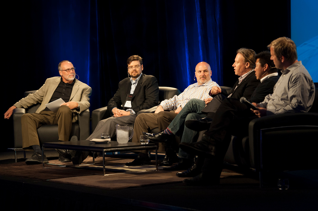 """""""What Every CIO Should Know About Cloud Computing"""": (L-R) Host Greg Ness, James Barrese, David Nelson, Paul Strong, Winston Damarillo, and Don Pickering.  May 22-25, 2012: At the Montage in Laguna Beach, CA, 200 thought leaders - high technology engineers and executives, entrepreneurs, scientists, and media professionals - gathered for 3 days to participate in FiRe X, the 10th annual Future in Review conference, presented by the Strategic News Service and led by SNS founder and technology visionary Mark Anderson. Interviews, panel discussions, and informal conversations ranged from IP protection to CO2 and climate change, new healthcare paradigms, global economics, ocean toxins, robotics, documentary filmmaking,  medical diagnostics, technology solutions for social issues, global economics, mobile computing, and tech solutions to human trafficking and aging with dignity."""