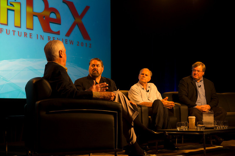 L-R: Don Budinger, Mark Anderson, Paul Ricci, and Steven Sprague.  May 22-25, 2012: At the Montage in Laguna Beach, CA, 200 thought leaders - high technology engineers and executives, entrepreneurs, scientists, and media professionals - gathered for 3 days to participate in FiRe X, the 10th annual Future in Review conference, presented by the Strategic News Service and led by SNS founder and technology visionary Mark Anderson. Interviews, panel discussions, and informal conversations ranged from IP protection to CO2 and climate change, new healthcare paradigms, global economics, ocean toxins, robotics, documentary filmmaking,  medical diagnostics, technology solutions for social issues, global economics, mobile computing, and tech solutions to human trafficking and aging with dignity.