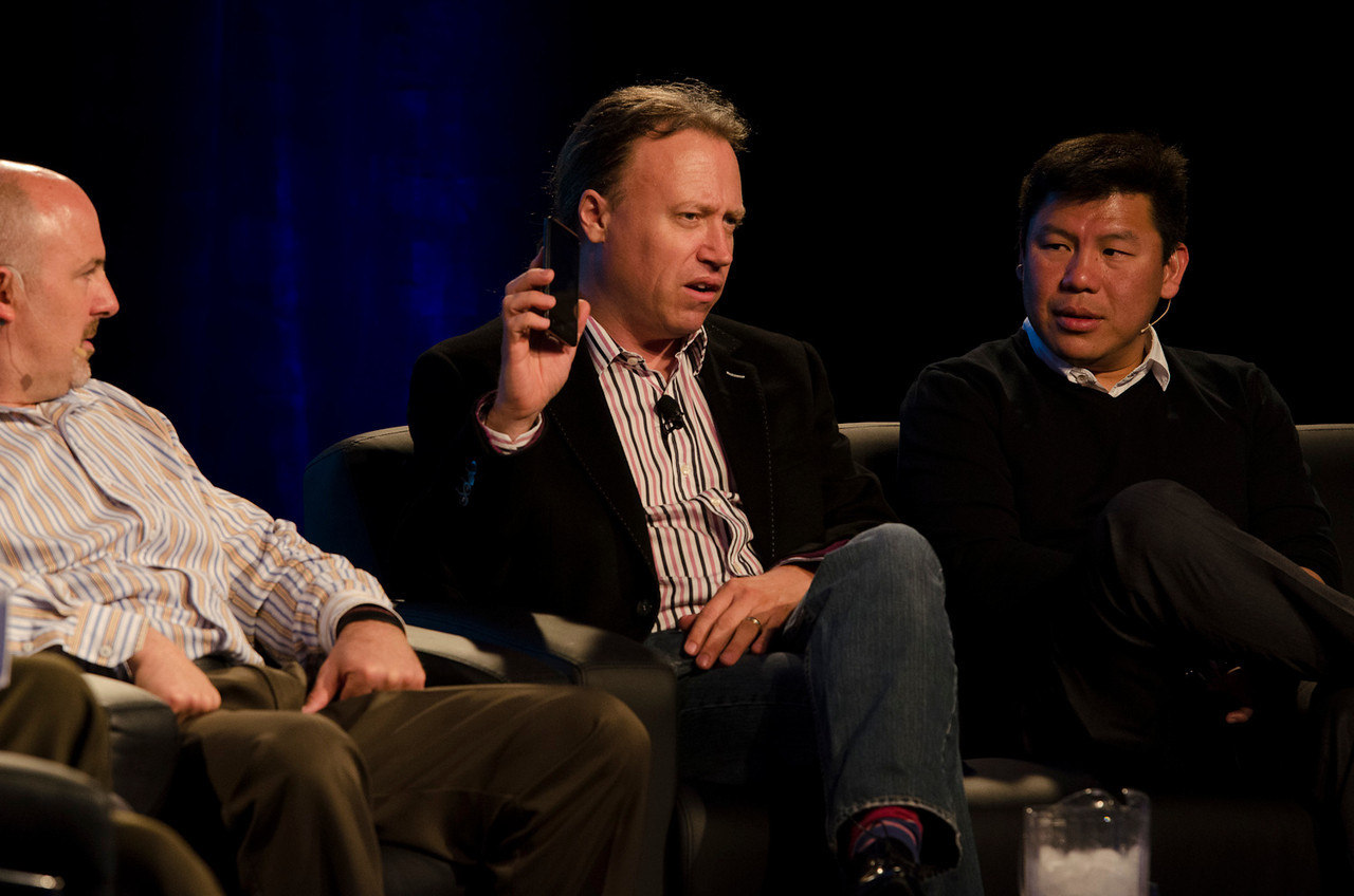 """""""What Every CIO Should Know About Cloud Computing"""": (L-R) David Nelson, Boeing; Paul Strong, VMware; and Winston Damarillo, Morphlabs.  May 22-25, 2012: At the Montage in Laguna Beach, CA, 200 thought leaders - high technology engineers and executives, entrepreneurs, scientists, and media professionals - gathered for 3 days to participate in FiRe X, the 10th annual Future in Review conference, presented by the Strategic News Service and led by SNS founder and technology visionary Mark Anderson. Interviews, panel discussions, and informal conversations ranged from IP protection to CO2 and climate change, new healthcare paradigms, global economics, ocean toxins, robotics, documentary filmmaking,  medical diagnostics, technology solutions for social issues, global economics, mobile computing, and tech solutions to human trafficking and aging with dignity."""