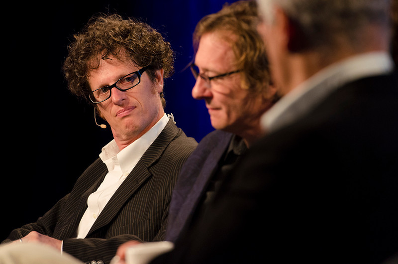 """FiRe Films: A New Program Uniting Technology, Finance, and Documentaries"": Peter Byck (L; ""Carbon Nation"") and Chris Paine (""Revenge of the Electric Car"").  May 22-25, 2012: At the Montage in Laguna Beach, CA, 200 thought leaders - high technology engineers and executives, entrepreneurs, scientists, and media professionals - gathered for 3 days to participate in FiRe X, the 10th annual Future in Review conference, presented by the Strategic News Service and led by SNS founder and technology visionary Mark Anderson. Interviews, panel discussions, and informal conversations ranged from IP protection to CO2 and climate change, new healthcare paradigms, global economics, ocean toxins, robotics, documentary filmmaking,  medical diagnostics, technology solutions for social issues, global economics, mobile computing, and tech solutions to human trafficking and aging with dignity."