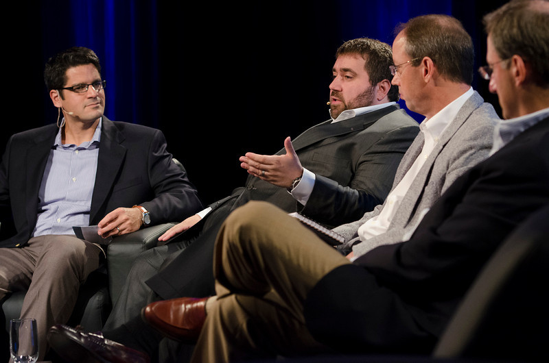 """The Future of Cleantech"": (L-R) Host Sheeraz Haji, CEO, Cleantech Group; Tom Matzzie, Founder and CEO, Ethical Electric Co.; Tony Lammers, CEO, MAR Systems; and Daniel Kapp, Director, Powertrain Research & Advanced Engneering, Ford Motor Co.  May 22-25, 2012: At the Montage in Laguna Beach, CA, 200 thought leaders - high technology engineers and executives, entrepreneurs, scientists, and media professionals - gathered for 3 days to participate in FiRe X, the 10th annual Future in Review conference, presented by the Strategic News Service and led by SNS founder and technology visionary Mark Anderson. Interviews, panel discussions, and informal conversations ranged from IP protection to CO2 and climate change, new healthcare paradigms, global economics, ocean toxins, robotics, documentary filmmaking,  medical diagnostics, technology solutions for social issues, global economics, mobile computing, and tech solutions to human trafficking and aging with dignity."