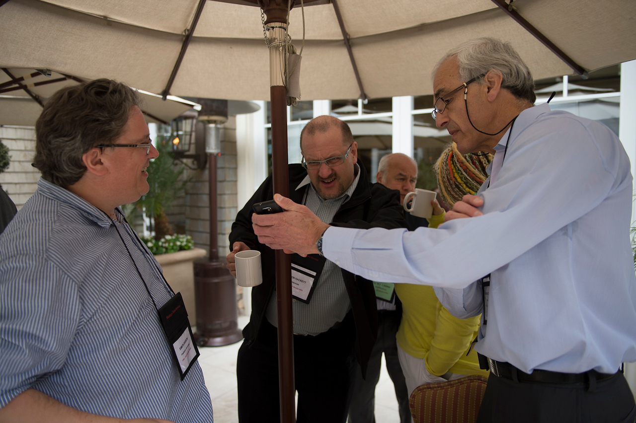 L-R: Simon Bisson, Simon Hackett, Mary Branscombe, and Hugh Bradlow.  May 22-25, 2012: At the Montage in Laguna Beach, CA, 200 thought leaders - high technology engineers and executives, entrepreneurs, scientists, and media professionals - gathered for 3 days to participate in FiRe X, the 10th annual Future in Review conference, presented by the Strategic News Service and led by SNS founder and technology visionary Mark Anderson. Interviews, panel discussions, and informal conversations ranged from IP protection to CO2 and climate change, new healthcare paradigms, global economics, ocean toxins, robotics, documentary filmmaking,  medical diagnostics, technology solutions for social issues, global economics, mobile computing, and tech solutions to human trafficking and aging with dignity.