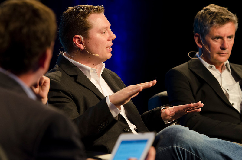 """The Future Integration of Critical Technologies into the Connected Car"": (L-R) Host Matthias Hohensee, Bureau Chief, WirtschaftsWoche; Ben Smith, Microsoft; and Gary Clayton, Nuance Communications.  May 22-25, 2012: At the Montage in Laguna Beach, CA, 200 thought leaders - high technology engineers and executives, entrepreneurs, scientists, and media professionals - gathered for 3 days to participate in FiRe X, the 10th annual Future in Review conference, presented by the Strategic News Service and led by SNS founder and technology visionary Mark Anderson. Interviews, panel discussions, and informal conversations ranged from IP protection to CO2 and climate change, new healthcare paradigms, global economics, ocean toxins, robotics, documentary filmmaking,  medical diagnostics, technology solutions for social issues, global economics, mobile computing, and tech solutions to human trafficking and aging with dignity."