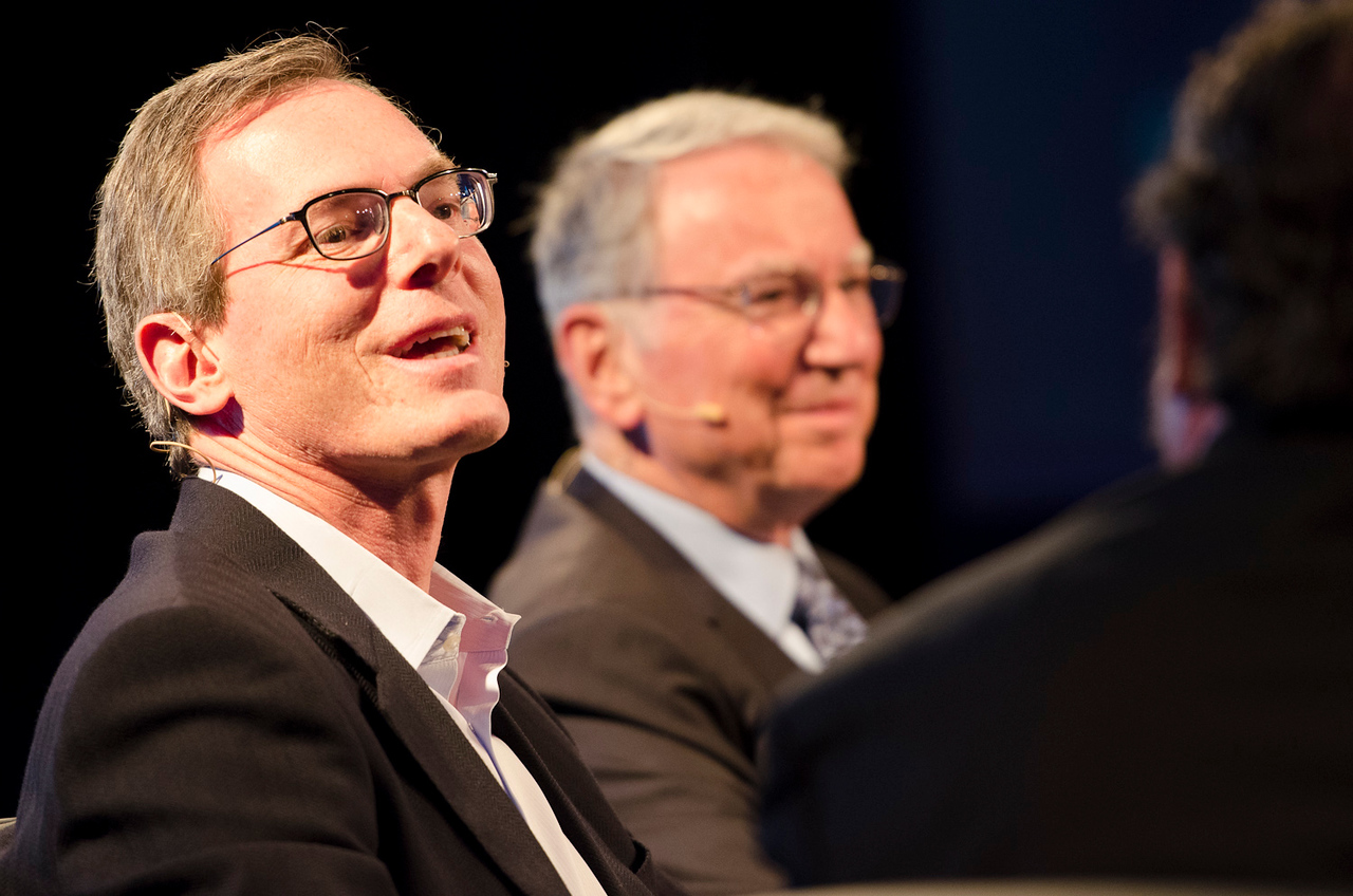 Qualcomm CEO and Chairman Paul Jacobs (L) and Founding Chairman Emeritus Irwin Jacobs.  May 22-25, 2012: At the Montage in Laguna Beach, CA, 200 thought leaders - high technology engineers and executives, entrepreneurs, scientists, and media professionals - gathered for 3 days to participate in FiRe X, the 10th annual Future in Review conference, presented by the Strategic News Service and led by SNS founder and technology visionary Mark Anderson. Interviews, panel discussions, and informal conversations ranged from IP protection to CO2 and climate change, new healthcare paradigms, global economics, ocean toxins, robotics, documentary filmmaking,  medical diagnostics, technology solutions for social issues, global economics, mobile computing, and tech solutions to human trafficking and aging with dignity.
