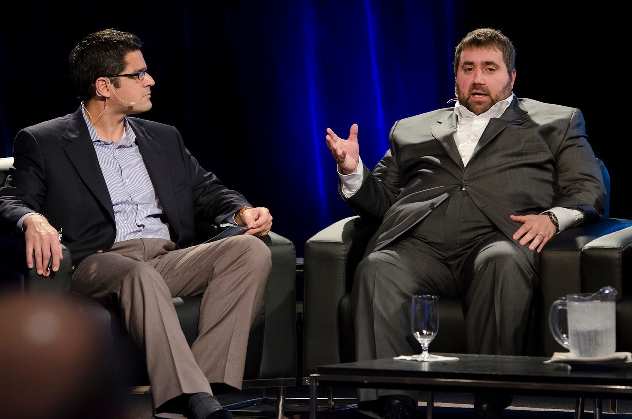 """""""The Future of Cleantech"""": Host Sheeraz Haji (L), CEO, Cleantech Group; and Tom Matzzie, Founder and CEO, Ethical Electric Co.  May 22-25, 2012: At the Montage in Laguna Beach, CA, 200 thought leaders - high technology engineers and executives, entrepreneurs, scientists, and media professionals - gathered for 3 days to participate in FiRe X, the 10th annual Future in Review conference, presented by the Strategic News Service and led by SNS founder and technology visionary Mark Anderson. Interviews, panel discussions, and informal conversations ranged from IP protection to CO2 and climate change, new healthcare paradigms, global economics, ocean toxins, robotics, documentary filmmaking,  medical diagnostics, technology solutions for social issues, global economics, mobile computing, and tech solutions to human trafficking and aging with dignity."""