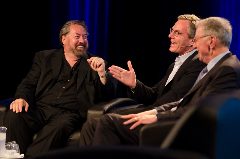 "Mark Anderson (L) hosts Qualcomm's Chairman Paul Jacobs and Chairman Emeritus Irwin Jacobs, in the Centerpiece Conversation ""The Future of Wireless.""  May 22-25, 2012: At the Montage in Laguna Beach, CA, 200 thought leaders - high technology engineers and executives, entrepreneurs, scientists, and media professionals - gathered for 3 days to participate in FiRe X, the 10th annual Future in Review conference, presented by the Strategic News Service and led by SNS founder and technology visionary Mark Anderson. Interviews, panel discussions, and informal conversations ranged from IP protection to CO2 and climate change, new healthcare paradigms, global economics, ocean toxins, robotics, documentary filmmaking,  medical diagnostics, technology solutions for social issues, global economics, mobile computing, and tech solutions to human trafficking and aging with dignity."