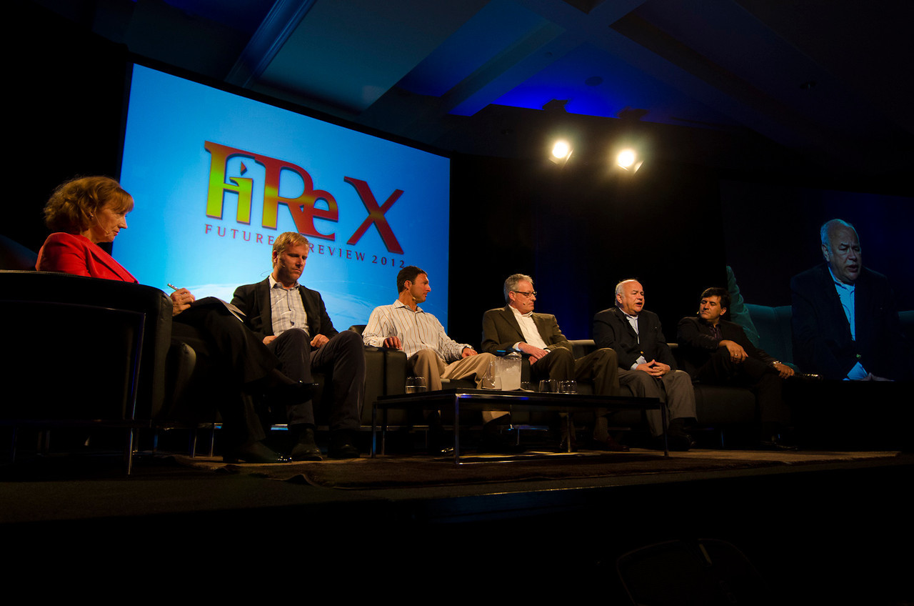 The BBC's Lesley Curwen interviews FiReStarters (L-R) Don Pickering, Dan Simon, John Vadino, David E.Y. Sarna, and Kian Saneii.   May 22-25, 2012: At the Montage in Laguna Beach, CA, 200 thought leaders - high technology engineers and executives, entrepreneurs, scientists, and media professionals - gathered for 3 days to participate in FiRe X, the 10th annual Future in Review conference, presented by the Strategic News Service and led by SNS founder and technology visionary Mark Anderson. Interviews, panel discussions, and informal conversations ranged from IP protection to CO2 and climate change, new healthcare paradigms, global economics, ocean toxins, robotics, documentary filmmaking,  medical diagnostics, technology solutions for social issues, global economics, mobile computing, and tech solutions to human trafficking and aging with dignity.