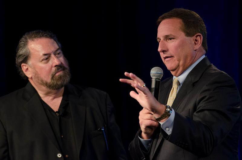 "Mark Anderson (L) and Mark Hurd, President of Oracle, in the Centerpiece Conversation ""The New Frontier: Simplify IT.""  May 22-25, 2012: At the Montage in Laguna Beach, CA, 200 thought leaders - high technology engineers and executives, entrepreneurs, scientists, and media professionals - gathered for 3 days to participate in FiRe X, the 10th annual Future in Review conference, presented by the Strategic News Service and led by SNS founder and technology visionary Mark Anderson. Interviews, panel discussions, and informal conversations ranged from IP protection to CO2 and climate change, new healthcare paradigms, global economics, ocean toxins, robotics, documentary filmmaking,  medical diagnostics, technology solutions for social issues, global economics, mobile computing, and tech solutions to human trafficking and aging with dignity."