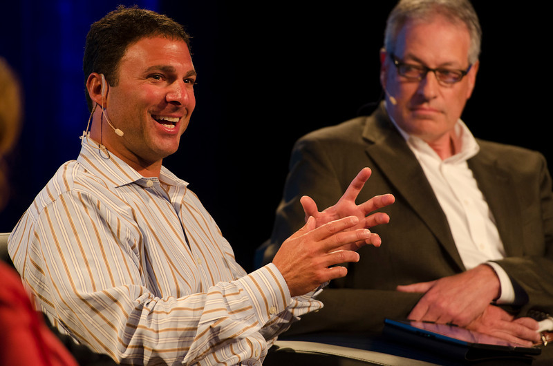 FiReStarters Dan Simon (L), Heliae; and John Vadino, One to the World.  May 22-25, 2012: At the Montage in Laguna Beach, CA, 200 thought leaders - high technology engineers and executives, entrepreneurs, scientists, and media professionals - gathered for 3 days to participate in FiRe X, the 10th annual Future in Review conference, presented by the Strategic News Service and led by SNS founder and technology visionary Mark Anderson. Interviews, panel discussions, and informal conversations ranged from IP protection to CO2 and climate change, new healthcare paradigms, global economics, ocean toxins, robotics, documentary filmmaking,  medical diagnostics, technology solutions for social issues, global economics, mobile computing, and tech solutions to human trafficking and aging with dignity.