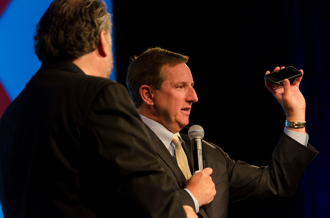 """Mark Anderson (L) and Mark Hurd, President of Oracle, in the Centerpiece Conversation """"The New Frontier: Simplify IT.""""  May 22-25, 2012: At the Montage in Laguna Beach, CA, 200 thought leaders - high technology engineers and executives, entrepreneurs, scientists, and media professionals - gathered for 3 days to participate in FiRe X, the 10th annual Future in Review conference, presented by the Strategic News Service and led by SNS founder and technology visionary Mark Anderson. Interviews, panel discussions, and informal conversations ranged from IP protection to CO2 and climate change, new healthcare paradigms, global economics, ocean toxins, robotics, documentary filmmaking,  medical diagnostics, technology solutions for social issues, global economics, mobile computing, and tech solutions to human trafficking and aging with dignity."""
