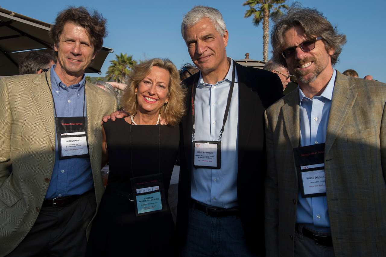 James Balog, Sharon Anderson-Morris, Louie Psihoyos, and Russ Daggatt.  May 22-25, 2012: At the Montage in Laguna Beach, CA, 200 thought leaders - high technology engineers and executives, entrepreneurs, scientists, and media professionals - gathered for 3 days to participate in FiRe X, the 10th annual Future in Review conference, presented by the Strategic News Service and led by SNS founder and technology visionary Mark Anderson. Interviews, panel discussions, and informal conversations ranged from IP protection to CO2 and climate change, new healthcare paradigms, global economics, ocean toxins, robotics, documentary filmmaking,  medical diagnostics, technology solutions for social issues, global economics, mobile computing, and tech solutions to human trafficking and aging with dignity.