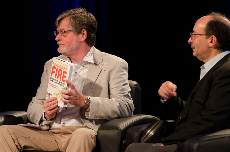 """""""Reinventing Fire: Selecting a Preferred Energy Future"""": Host Scott Foster (L; Senior Analyst / Sustainability, BNP Paribas [Japan]); with Amory Lovins, Co-Founder, Chairman, and Chief Scientist, Rocky Mountain Institute.  May 22-25, 2012: At the Montage in Laguna Beach, CA, 200 thought leaders - high technology engineers and executives, entrepreneurs, scientists, and media professionals - gathered for 3 days to participate in FiRe X, the 10th annual Future in Review conference, presented by the Strategic News Service and led by SNS founder and technology visionary Mark Anderson. Interviews, panel discussions, and informal conversations ranged from IP protection to CO2 and climate change, new healthcare paradigms, global economics, ocean toxins, robotics, documentary filmmaking,  medical diagnostics, technology solutions for social issues, global economics, mobile computing, and tech solutions to human trafficking and aging with dignity."""