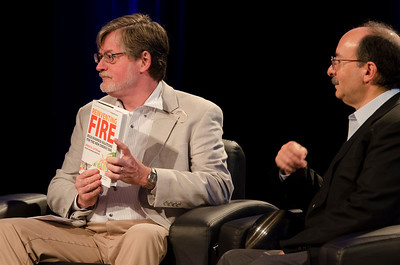 """Reinventing Fire: Selecting a Preferred Energy Future"": Host Scott Foster (L; Senior Analyst / Sustainability, BNP Paribas [Japan]); with Amory Lovins, Co-Founder, Chairman, and Chief Scientist, Rocky Mountain Institute.  May 22-25, 2012: At the Montage in Laguna Beach, CA, 200 thought leaders - high technology engineers and executives, entrepreneurs, scientists, and media professionals - gathered for 3 days to participate in FiRe X, the 10th annual Future in Review conference, presented by the Strategic News Service and led by SNS founder and technology visionary Mark Anderson. Interviews, panel discussions, and informal conversations ranged from IP protection to CO2 and climate change, new healthcare paradigms, global economics, ocean toxins, robotics, documentary filmmaking,  medical diagnostics, technology solutions for social issues, global economics, mobile computing, and tech solutions to human trafficking and aging with dignity."