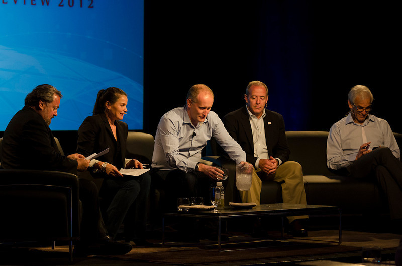 """Technology Addresses Human Trafficking: A New Global Rescue System"": (L-R) Host Mark Anderson, Julia Ormond, Andrew Wallis, Michael Geraghty, and Hugh Bradlow.  May 22-25, 2012: At the Montage in Laguna Beach, CA, 200 thought leaders - high technology engineers and executives, entrepreneurs, scientists, and media professionals - gathered for 3 days to participate in FiRe X, the 10th annual Future in Review conference, presented by the Strategic News Service and led by SNS founder and technology visionary Mark Anderson. Interviews, panel discussions, and informal conversations ranged from IP protection to CO2 and climate change, new healthcare paradigms, global economics, ocean toxins, robotics, documentary filmmaking,  medical diagnostics, technology solutions for social issues, global economics, mobile computing, and tech solutions to human trafficking and aging with dignity."