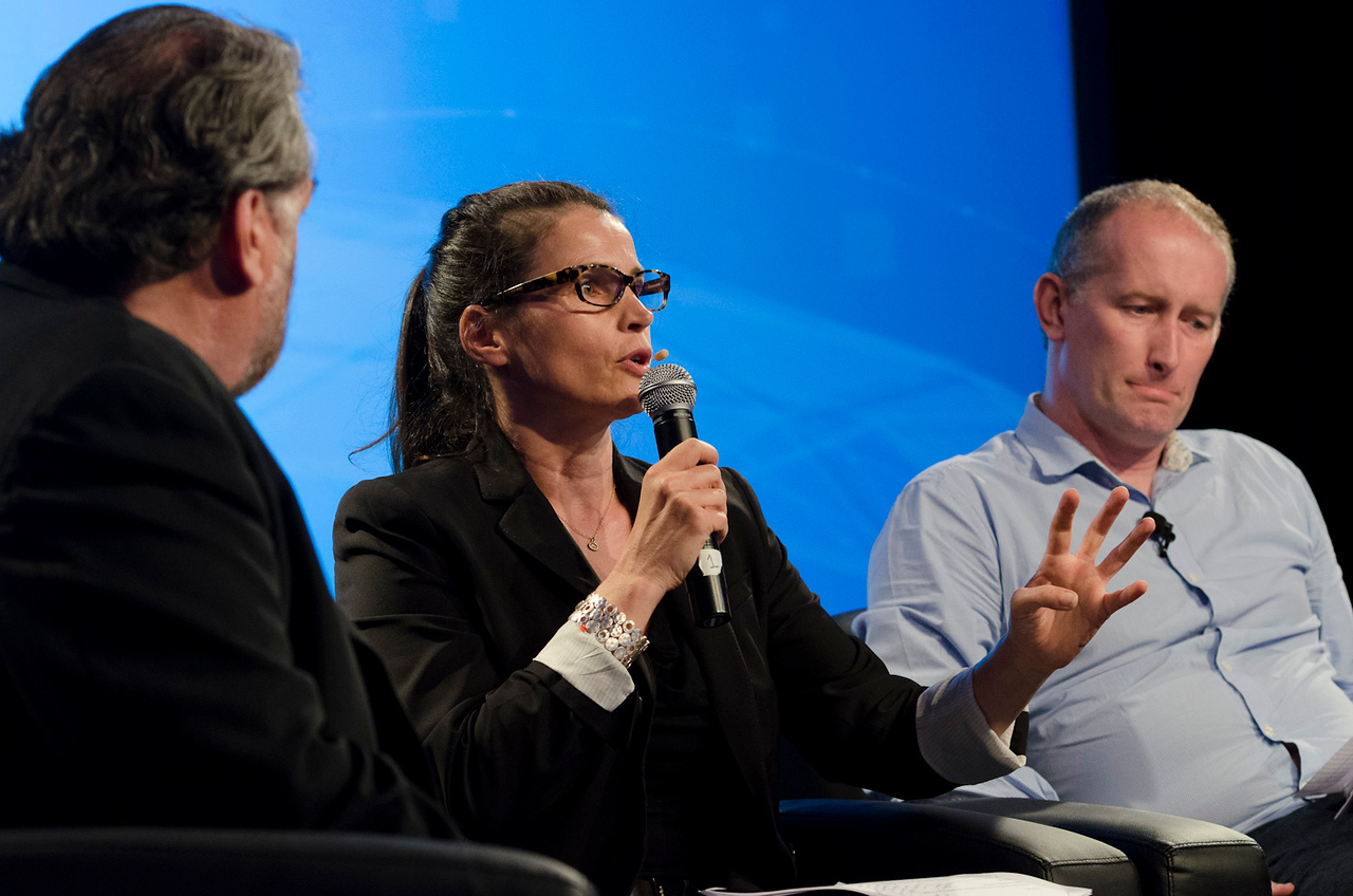 """Technology Addresses Human Trafficking: A New Global Rescue System"": (L-R) Host Mark Anderson, Julia Ormond (ASSET), and Andrew Wallis (unseen).  May 22-25, 2012: At the Montage in Laguna Beach, CA, 200 thought leaders - high technology engineers and executives, entrepreneurs, scientists, and media professionals - gathered for 3 days to participate in FiRe X, the 10th annual Future in Review conference, presented by the Strategic News Service and led by SNS founder and technology visionary Mark Anderson. Interviews, panel discussions, and informal conversations ranged from IP protection to CO2 and climate change, new healthcare paradigms, global economics, ocean toxins, robotics, documentary filmmaking,  medical diagnostics, technology solutions for social issues, global economics, mobile computing, and tech solutions to human trafficking and aging with dignity."