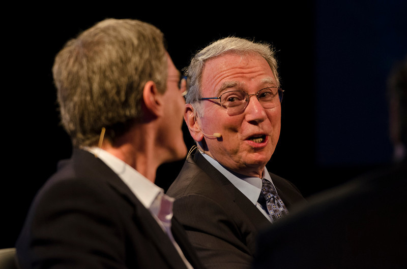 """Qualcomm Chairman and CEO Paul Jacobs (L) and Qualcomm Co-Founding Chairman Emeritus Irwin Jacobs, in the Centerpiece Conversation """"The Future of Wireless.""""  May 22-25, 2012: At the Montage in Laguna Beach, CA, 200 thought leaders - high technology engineers and executives, entrepreneurs, scientists, and media professionals - gathered for 3 days to participate in FiRe X, the 10th annual Future in Review conference, presented by the Strategic News Service and led by SNS founder and technology visionary Mark Anderson. Interviews, panel discussions, and informal conversations ranged from IP protection to CO2 and climate change, new healthcare paradigms, global economics, ocean toxins, robotics, documentary filmmaking,  medical diagnostics, technology solutions for social issues, global economics, mobile computing, and tech solutions to human trafficking and aging with dignity."""