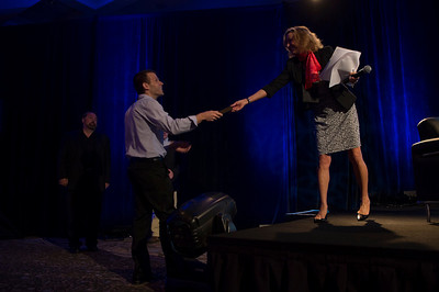 Sharon Anderson-Morris greets Rising Star Jonathon Dreyer, Sr. Manager, Mobile Solutions Marketing, Healthcare Division, Nuance Communications.  May 22-25, 2012: At the Montage in Laguna Beach, CA, 200 thought leaders - high technology engineers and executives, entrepreneurs, scientists, and media professionals - gathered for 3 days to participate in FiRe X, the 10th annual Future in Review conference, presented by the Strategic News Service and led by SNS founder and technology visionary Mark Anderson. Interviews, panel discussions, and informal conversations ranged from IP protection to CO2 and climate change, new healthcare paradigms, global economics, ocean toxins, robotics, documentary filmmaking,  medical diagnostics, technology solutions for social issues, global economics, mobile computing, and tech solutions to human trafficking and aging with dignity.