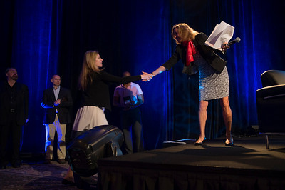 Sharon Anderson-Morris greets Rising Star Tamara Samoylova, Head of Research, Deloitte Center for the Edge.  May 22-25, 2012: At the Montage in Laguna Beach, CA, 200 thought leaders - high technology engineers and executives, entrepreneurs, scientists, and media professionals - gathered for 3 days to participate in FiRe X, the 10th annual Future in Review conference, presented by the Strategic News Service and led by SNS founder and technology visionary Mark Anderson. Interviews, panel discussions, and informal conversations ranged from IP protection to CO2 and climate change, new healthcare paradigms, global economics, ocean toxins, robotics, documentary filmmaking,  medical diagnostics, technology solutions for social issues, global economics, mobile computing, and tech solutions to human trafficking and aging with dignity.