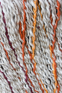 Detail of sprang pouch. Interlinking with twined threads.