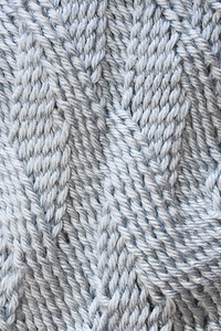 Detail of sprang pouch with S and Z twists.
