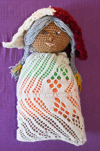 Doll with sprang lace dress. Cap and head are crocheted, body is nalbound. See my nalbainding work here: https://sharonwichman.smugmug.com/Fiber-Arts-Nalbinding/