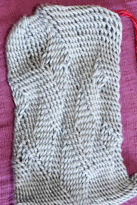 Sprang pouch with S and Z twists.