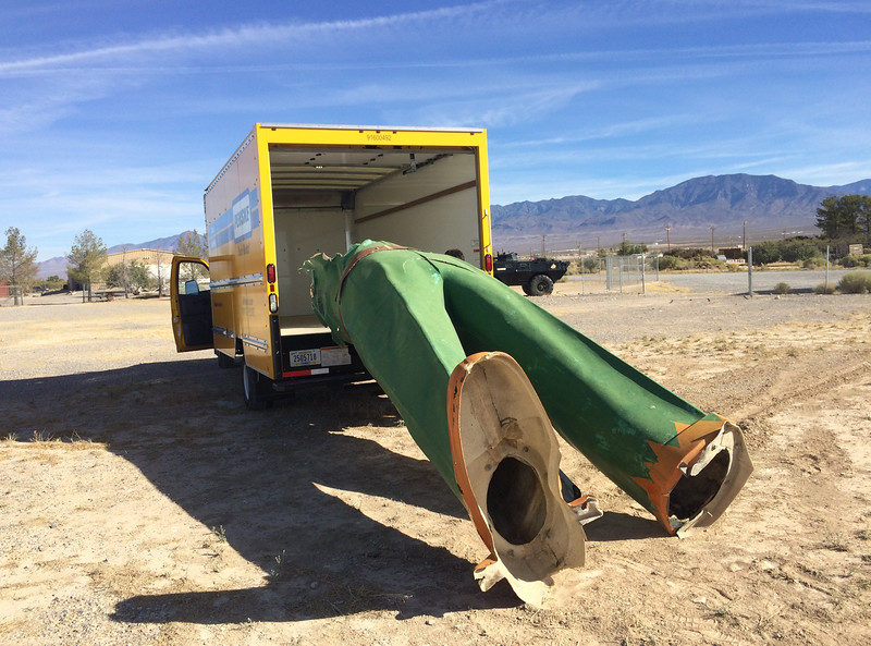 """The legs of a former Texaco Big friend extend from the back of a rental truck in Nevada after Loveland resident Joel Baker bought the fiberglass giant for a restoration project for his team, American Giants ( <a href=""""http://www.usagiants.com"""">http://www.usagiants.com</a>). Baker and a group of specialists will restore the 22-foot Big Friend, one of only four left in existence. (Special to the Reporter-Herald)"""