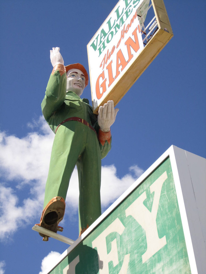 When Valley Homes in Nevada  decided to use this former Texaco Big Friend to advertise its business, the 1960s era fiberglass giant was repainted to look almost like a Robin Hood. Loveland resident Joel Baker recently bought the Big Friend, one of only four left in the United States, and will restore it with a team of specialists. (Photo Courtesty of Joel Baker)