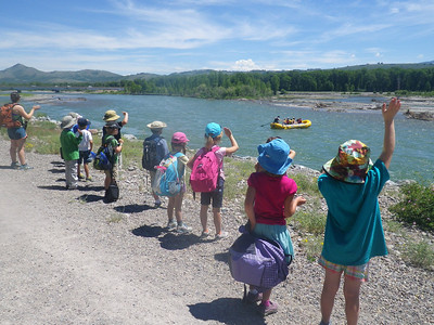 Monday Today, we walked along the Snake River searching for signs of animals. Then we came back to the Jackson Campus and played games and made our invitations for the Friday Celebration.  Follow-Up Question: What kinds of signs do animals leave behind? Answer - scat, tracks, hair and bones