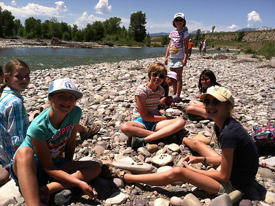 Tuesday  Today, the survivors explored the riparian community at the Gros Ventre River! We learned how to use scat & track books to identify animal signs. We found tons of animal signs, including elk skeletons and scat, bison scat, moose scat, beaver chews, and made hypotheses about many more animal signs. The survivors worked in pairs to write some amazing tracking stories, complete with a super moose, Freddy the beaver, and a fox on the run! We also spent some time making some awesome mud and rock sculptures on the river bank and playing camouflage at the end of the day. We are looking forward to shelter building at the Conservation Research Center tomorrow!  Follow-up question: What story did your animals signs tell?
