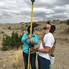 """Participant, Xin Zhou (University of Houston), and USIP intern, Ian Lauer (Idaho State University), use Trimble GPS rover to survey in ground control points. North Boulder Creek near Cardwell, Montana.<br /> From short course held at Indiana University Geologic Field Station August 16-19 2016. Short course title: Using TLS and Structure from Motion (SfM) Photogrammetry in Undergraduate Field Education. <a href=""""http://www.unavco.org/education/advancing-geodetic-skills/short-courses/2016/field-education/field-education.html"""">http://www.unavco.org/education/advancing-geodetic-skills/short-courses/2016/field-education/field-education.html</a>"""