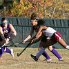 Montachusett Regional Vocational Technical School field hockey played Fitchburg High School on Thursday afternoon, Oct. 24, 2019. Monty Tech's Jayliece Hernandez and FHS's Wonuola Ashaju. SENTINEL & ENTERPRISE/JOHN LOVE