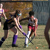 Montachusett Regional Vocational Technical School field hockey played Fitchburg High School on Thursday afternoon, Oct. 24, 2019. Monty Tech's Frankie Alley and FHS's Wonuola Ashaju. SENTINEL & ENTERPRISE/JOHN LOVE