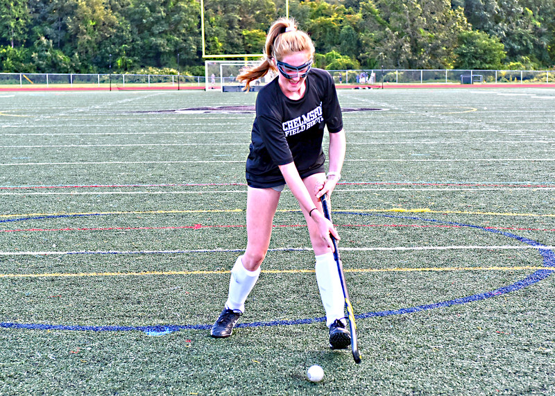 Claire Danahy 17, Chelmsford HS Field Hockey Co-Capt., during a practice session. SUN/David H. Brow