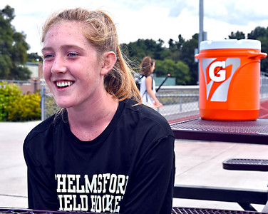 Chelmsford HS Senior and Varsity Field Hockey co-Captain Claire Danahy 17, talks about her career. SUN/David H. Brow