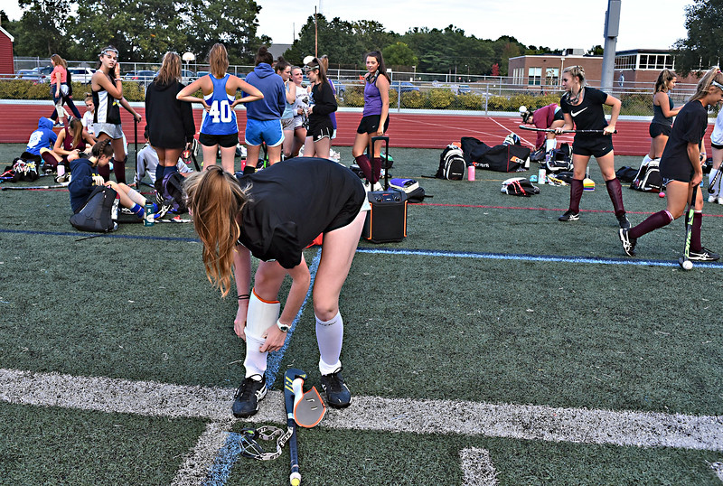 Chelmsford HS Field Hockey Co-Captain Claire Danahy 17, gears up for a pratice. SUN/David H. Brow