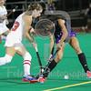 Fairfield forward Ann Burgoyne (23) Holy Cross fullback Philomena Fitzgerald (12)
