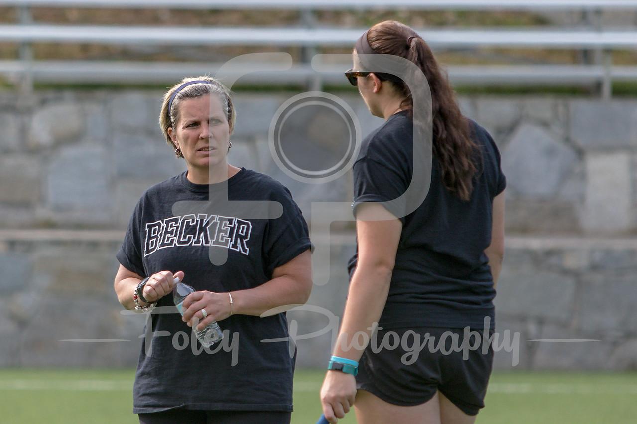 Becker College Hawks head coach Meighan Allison and Becker College Hawks assistant coach Patricia Smith