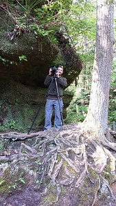 At Upper Falls (Hocking Hills, Ohio) doing a photo shoot for REI.  Photo taken by my wife